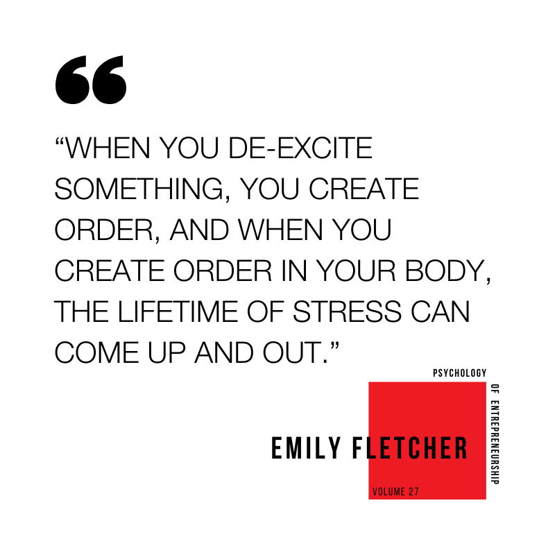 """When you de-excite something, you create order, and when you create order in your body, the lifetime of stress can come up and out"" -Emily Fletcher on Ziva Meditation"