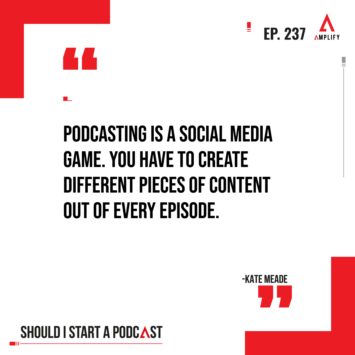 Quote: Podcasting is a social media game. You have to create different pieces of content out of every episode.
